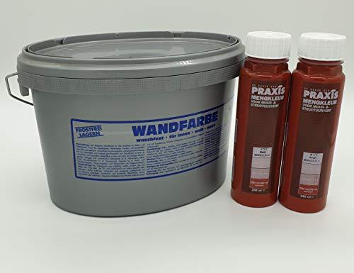 Praxis Weiße Wandfarbe waschfest gut Deckend 2,5 L mit 500 ml Volltonfarbe (432 Bordeaux)