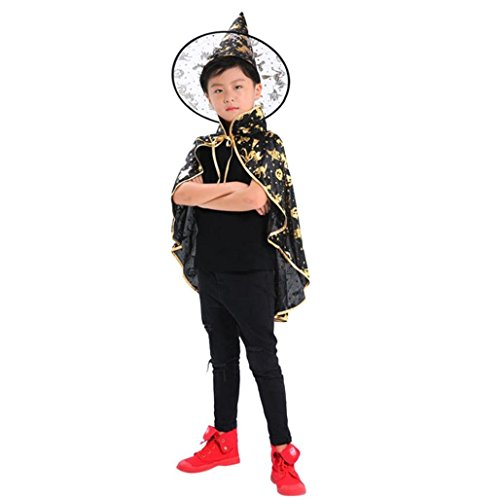 Prevently Kind Halloween Vampir Cape Cosplay Doppelseitig Hexenumhang Kinder Erwachsene Kinder Halloween Baby Kostüm Zauberer Hexe Mantel Cape Robe + Hat Set für Halloween-Masquerade ()