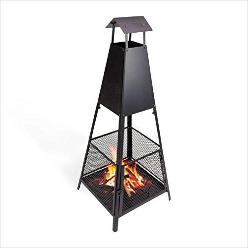 Preisvergleich Produktbild Grillkamin - 2 in 1 Grill und Gartenkamin - Terrassenkamin zum Grillen und Kaminfeuer