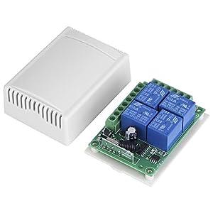 Fdit-DC12V-4-CH-433MHZ-Controlador-de-Interruptor-Inalmbricas-Interruptor-de-Control-de-Junta-Receptora-con-Control-Remoto-para-Puerta-de-Garaje-Automviles