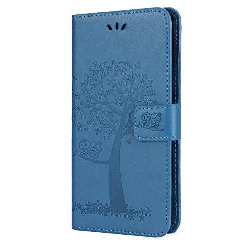 EUWLY Kompatibel mit Galaxy S6 Hülle Handyhülle Luxus Baum Eule Bookstyle LederHülle Ledertasche Schutzhülle Klappbar Handy Tasche Leder Flip Case Cover Mit Magnetverschluß,Blau