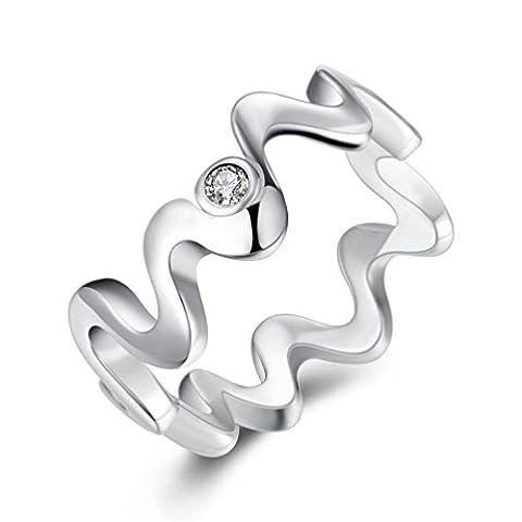 hmilydyk Jewelry 925Sterling Silber vergoldet Fashion Wasser Ripple Finger Ring Hochzeit Band