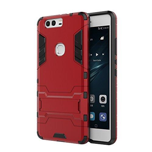 Forepin® Stoßfest Handyhülle Schutz Hülle für Huawei P9 plus 5.5 Zoll Dual-Layer Weich TPU + PC Harte Rück Bumper Case Cover mit Kickstand Hybrid Panzer Amor Etui Tasche (Heavy Duty Schutz) - Rot