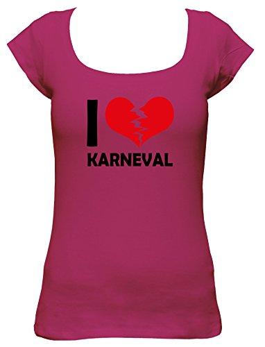 Love Kostüm Boat - I Don't Love Karneval Fun Damen Boat Neck T-Shirt, Größe:L;Farbe:pink