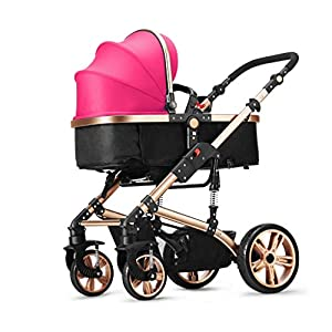 KKCD - Baby Pram Baby Stroller Aluminum Alloy Can Sit Can Lie Flat Two-Way Damping Collapsible Lightweight Baby Carriage for 0-4 Years Old Children Use Buggy (Color : Pink)   3