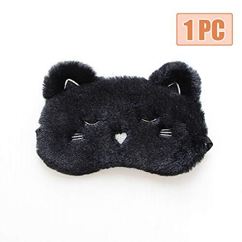 HOMEWINS Schlafmaske Atmungsaktive Super Weiche Augenmaske aus 100{e36db9c432c7b61d9f103efb0a487ec37e8bec846f7f8d97ff8b5e44c100036d} Naturseide & Plüsch 3D Süßes Tier Verstellbare Maske für Schlafen Reisen (Schwarz Katze)