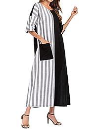 f2a3b13a2510 AMUSTER Vestiti Gonna Donna Estate Elegante Cerimonia Moda Donna A Strisce  Equipaggio Collo Casual Loose Kaftan