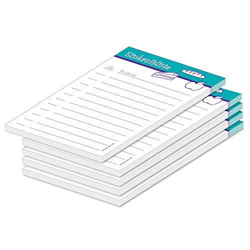 Pricaro Food - Lista de la compra (A6, 5 unidades), color turquesa