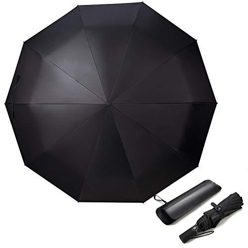 Adoric ombrello pieghevole automatico,ombrello antivento e impermeabile e 10 telaio rinforzate per viaggi per uomo e donna (nero)