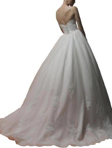 GEOGE BRIDE - Robe de princesse de appliques delicates et fleurs manuelles avec large ceinture Blanc