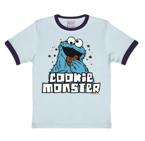 Authentische Cookie Monster Kostüm - Logoshirt Sesamstrasse - Krümelmonster T-Shirt Kinder - hellblau - Lizenziertes Originaldesign, Größe 122/134, 7-9 Jahre