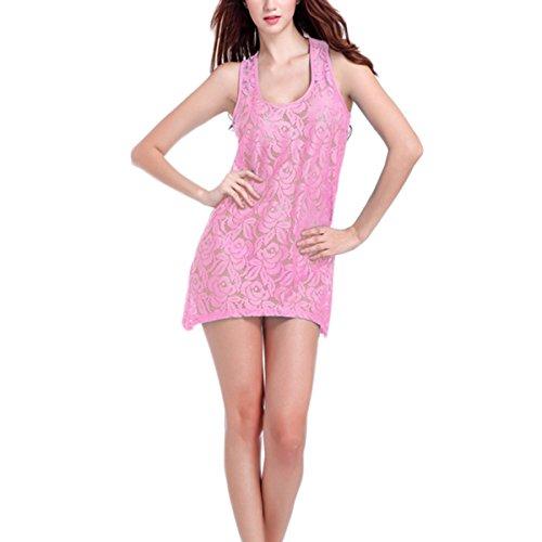 Bawar Frauen Mode ausschnitt Ärmellos Spitze Häkelspitze Kleid Beachwear Strandkleider Bikini Bluse Volltonfarbe Elegant Durchbrochene Beachwear Rosa