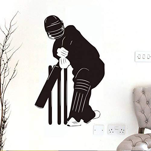 GUDOJK Wandaufkleber Cricket Wandaufkleber Schwarz Silhouette Kinder Schlafzimmer Sport Wohnkultur PVC Selbstklebende Vinyl DIY WandbildGröße Patter Cricket-stil