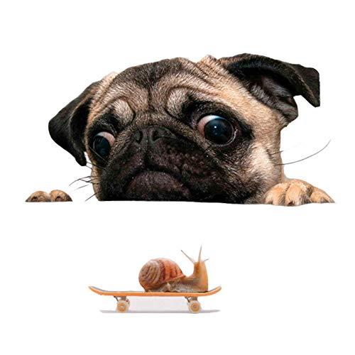 REFURBISHHOUSE Lustige Nette Haustier Pug Hunde Schnecke 3D Auto Fenster Applikations Haupt Wand Aufkleber Dekoration (Net Auto Hund)