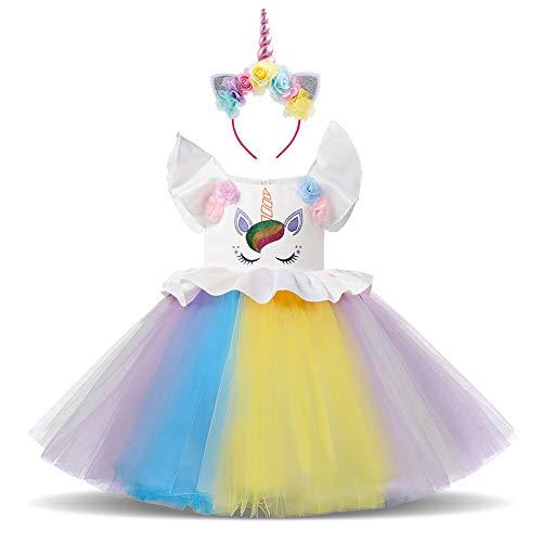 IWEMEK Baby Mädchen Einhorn Regenbogen Geburtstag Kleid Halloween Kostüm für Kinder Blumenmädchenkleid Hochzeit Festzug Prinzessin Tutu Ankleiden Karneval Performance Cosplay Mehrfarbig 6-7 ()