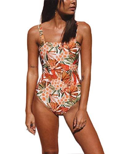 CuteRose Women's Backless Camisole High-Cut Monokini Swimsuits Bathing Suits Orange XS - Black Cotton Spandex Camisole