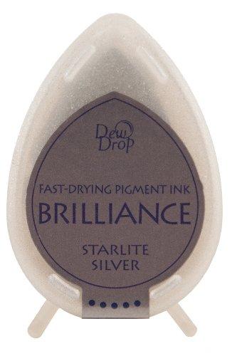 Tsukineko 3,5x 5cm Brilliance Pigment Starlight Stempel Pad, Silber -