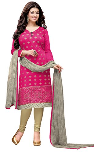 Khushali Presents Chudidar Dress Material(Rani,Beige)