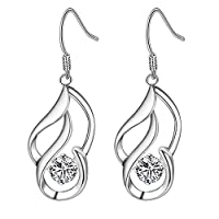 MSYOU Twist Earring Temperament Zircon Pendant Earrings Women Girl Jewelry Gift for Christmas Thanksgiving Graduation Ceremony(Silver)