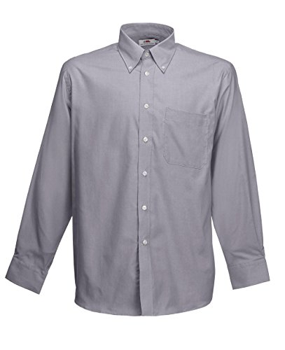 Fruit of the Loom Herren Sporthemd Oxford Shirt Ls Oxford Grey