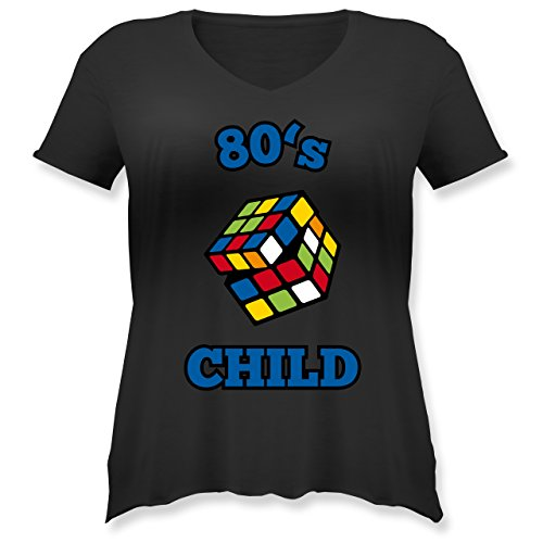 80er Jahre Plus Kleidung Size (Statement Shirts - 80's Child - Zauberwürfel - L (48) - Schwarz - JHK603 - Weit geschnittenes Damen Shirt in großen Größen mit)