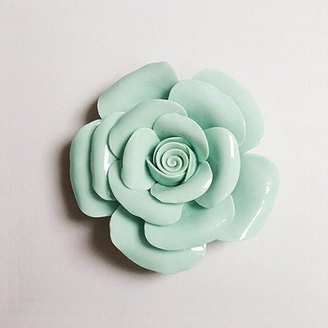 Lx.AZ.Kx Moderno e minimalista di fiori in ceramica decorazione murale TV in soggiorno decorazioni murali manualmente il fiore di schiacciamento della parete decorazione parete,in verde)