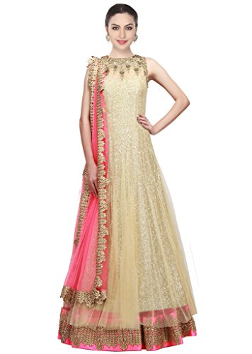 Lehenga Choli For Women (Ramdev Emperio Golden Color Fancy & Beautiful Embroidered Soft Net Semi_Stiched Lehenga Choli For Women) (Wedding Special)
