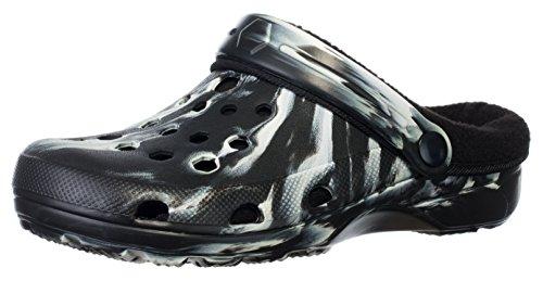 Brandsseller Damen Schuh Clog Hausschuh Pantoffel Gartenschuh - warm Gefüttert - Farbe: Schwarz/Weiß, 38 - Entspannen Medizin