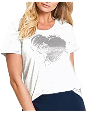 LuckyGirls Camisetas Mujer Manga Corta Verano Corazón Estampado Remeras Blusa Camisas
