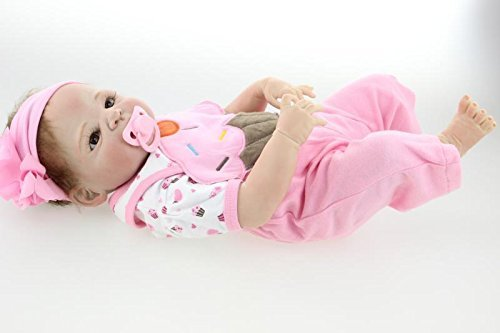 23 Full Silicone Art Dolls Realistic Reborn Baby Girl Newborn with Pink Outfits Kids Houseplay Toys by