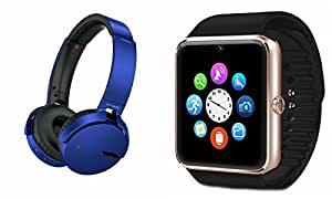 MIRZA Extra Extra Bass XB450 Headphones & GT08 Bluetooth Smart Watch for GIONEE W909(XB 450 Headphones,With MIC,Extra Bass,Headset,Sports Headset,Wired Headset & Bluetooth GT08 Smart Watch Wrist Watch Phone with Camera & SIM Card Support Hot Fashion New Arrival Best Selling Premium Quality Lowest Price with Apps like Facebook, Whatsapp, Twitter, Sports, Health, Compatible with Android iOS Mobile Tablet-Assorted Color)