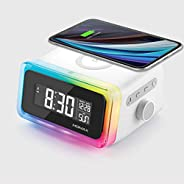 MOMAX 4 in 1 Digital Alarm Clock with Wireless Charging Station and Bluetooth 5.0 Speaker Colourful Smart LED