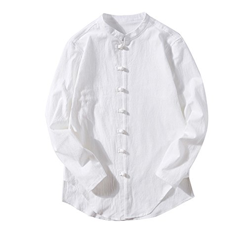 Herren Langarm Leinen Hemd Fischerhemd Kurtha Uni Überzieher Freshrunk Baumwolle Button-Down Freizeit Hemden Freizeit Regular Fit Kragenloses Shirt Tops Fisherman Hemd(Weiß,EU-48/CN-L)