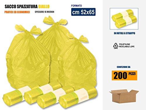 SACCHI SPAZZATURA RACCOLTA DIFFERENZIATA RIFIUTI IN PLASTICA PE-LD COLORE GIALLO Cm 52x65 (35 litri) - SCATOLA DA 200 SACCHETTI