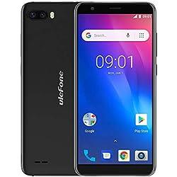 "Ulefone S1 (2018) Smartphone Android Go, Android 8.1 5.5"" écran Sim Free Mobile Phone, MTK6580 Quad Core 1 GB RAM 8 GB ROM Arrière Double Caméra, Double SIM, Cellulaire Bluetooth Smartphone 3G - Noir"
