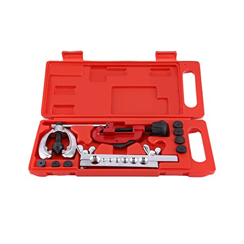Flare Tool Kit, 10Stk Stahlrohr Flare toool Kit Bremse Tube Flare Werkzeug mit Schutzhülle für Rohr Schneiden und Bördelgerät (45 Auto Stirbt)
