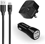 Promate Universal Charge Kit, Ultra-Fast 3-In-1 Dual USB 2.4A Wall Charger and 3.1A Car charger with 1.2m USB