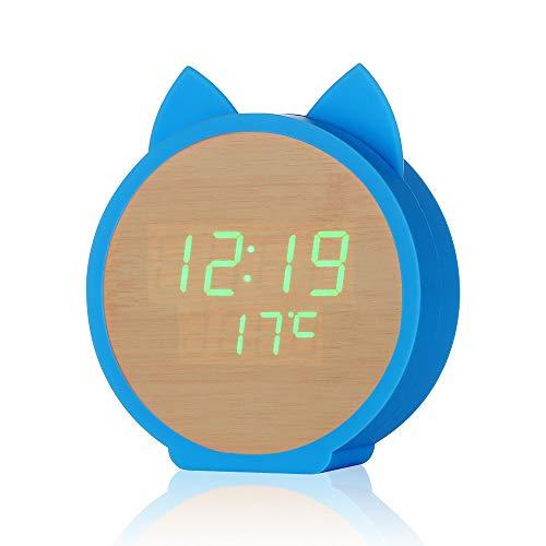 PrideSong Kreative Wecker niedlichen Kätzchen Form LED-Anzeige Holzuhr Sprachsteuerung Cartoon Wecker Bambus Holz grünes Licht + frische Blaue eingebaute Batterie