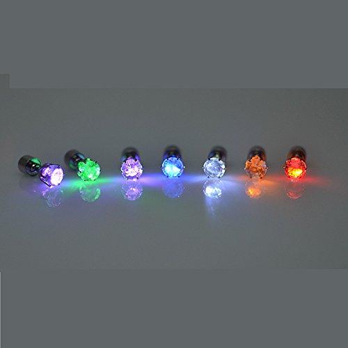 rringe Glowing Light Up mit Diamant-Kronen-Art-Ohr-Bolzen-Tropfen-hängende Edelstahl für Party-Partei-Rosa Licht (Das Beste Kostüm Angebote)