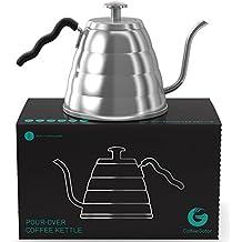 Hervidor de café Pour Over 1,2 L de acero inoxidable con Termómetro integrado de Coffee Gator - No quemes más tu café! Para un café filtrado a mano perfecto.