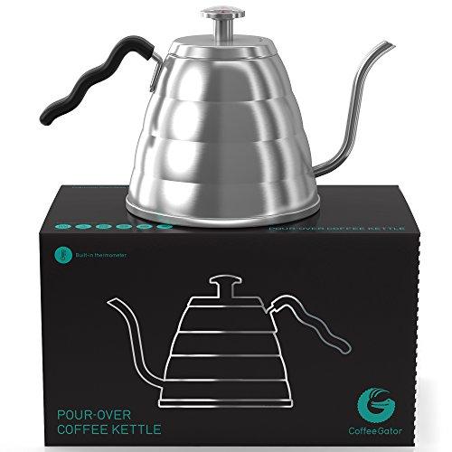 Handbrüh-Kaffeekessel 1,2 L aus Edelstahl - Damit Ihre Bohnen nicht mehr verbrennen, mit Thermometer von Coffee Gator eingebaut - Für einen perfekten, per Hand aufgegossenen Filterkaffee Kessel Mit Schwanenhals