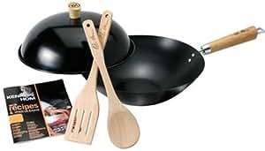 Ken Hom Carbon Steel Non-Stick Wok Set with Lid, 31 cm, 5 Pieces - Black