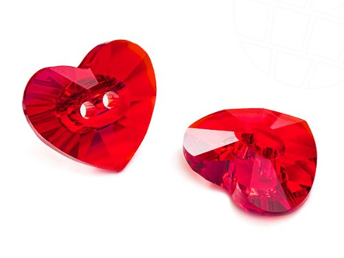 Swarovski Kristall Knopf Elements Herz 16.0 x 14.0mm (Light Siam), 4 Stück