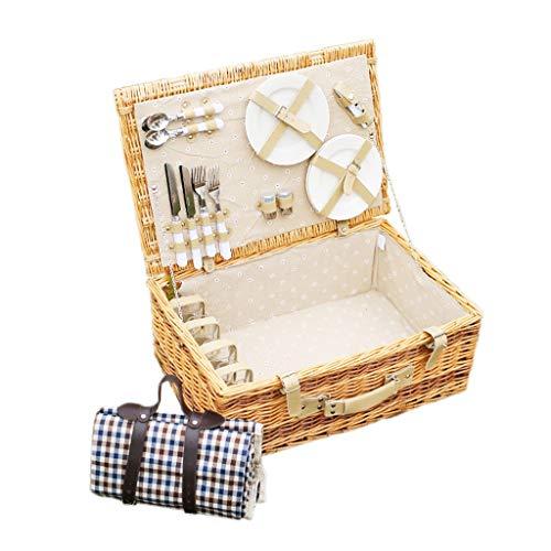 JQHLJYCL Korb-Picknickkorb-Rattangarten der großen Lagerung tragbarer Weidenpicknickkasten mit vier Leuten im Freien mit Deckel (Für Körbe Wicker Lagerung Große)