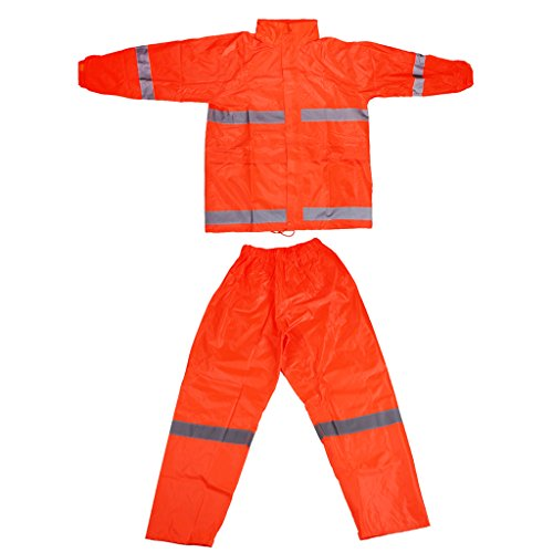MagiDeal Reflektierende Wasserdicht Outdoor Reitregenmantel Regen Hose Orange XL Orange Rainsuit