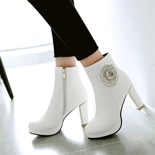 YE Damen Blockabsatz High Heel Plateau Stiefeletten mit Reißverschluss und Blumen Short Ankle Boots 9cm Heels Fashion Elegant Herbst Winterschuhe Weiß