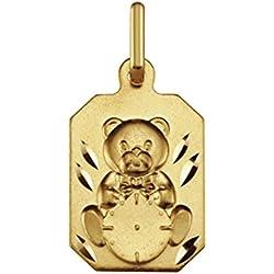 OURSON ASSIS - Médaille Bapteme - Horloge - Or 9 carats - Hauteur: 18 mm - www.diamants-perles.com