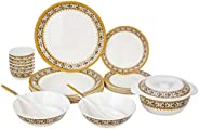 Amazon Brand - Solimo Majestico Melamine Dinnerware Set (23 pieces)