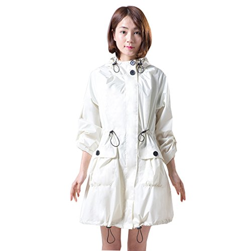 Raincoat jcoco impermeabile adulto moda lunga giacca a vento siamese qualità poliestere impermeabile moto equitazione escursionismo turismo escursionismo all'aperto (colore : white cream)