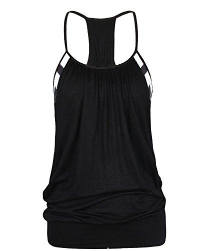 Femmes Fitness Vest Top Sport Yoga Débardeurs T-shirt Noir S